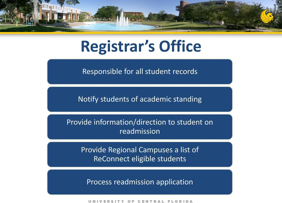 information/direction to student on readmission Provide