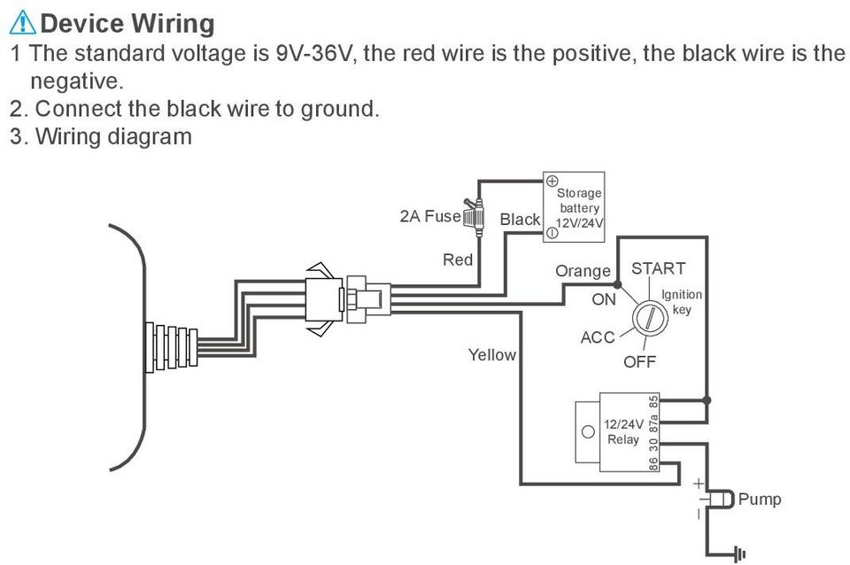 Connect the black wire to ground. 3.