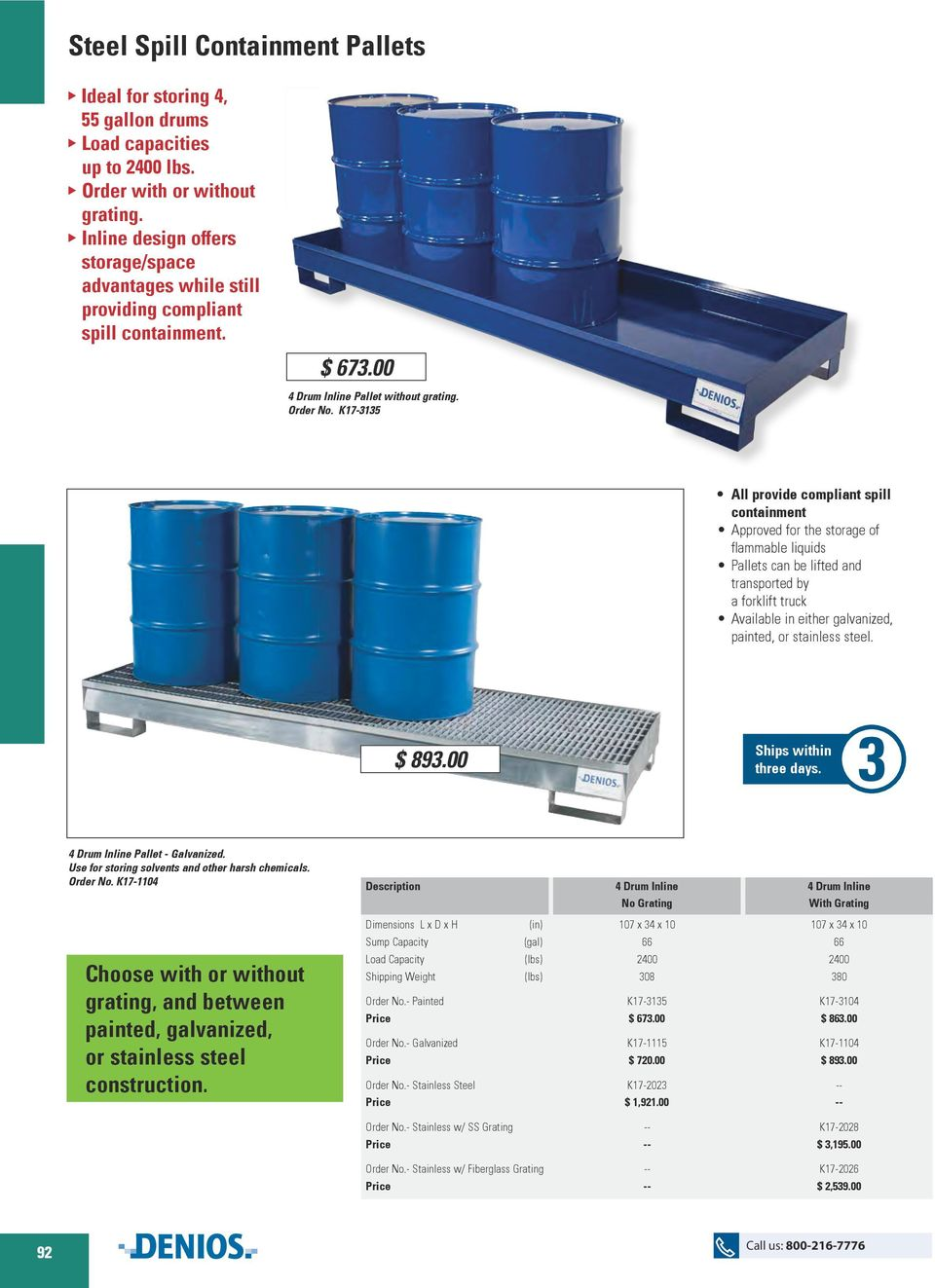 K17-3135 All provide compliant spill containment Approved for the storage of flammable liquids Pallets can be lifted and transported by a forklift truck Available in either galvanized, painted, or