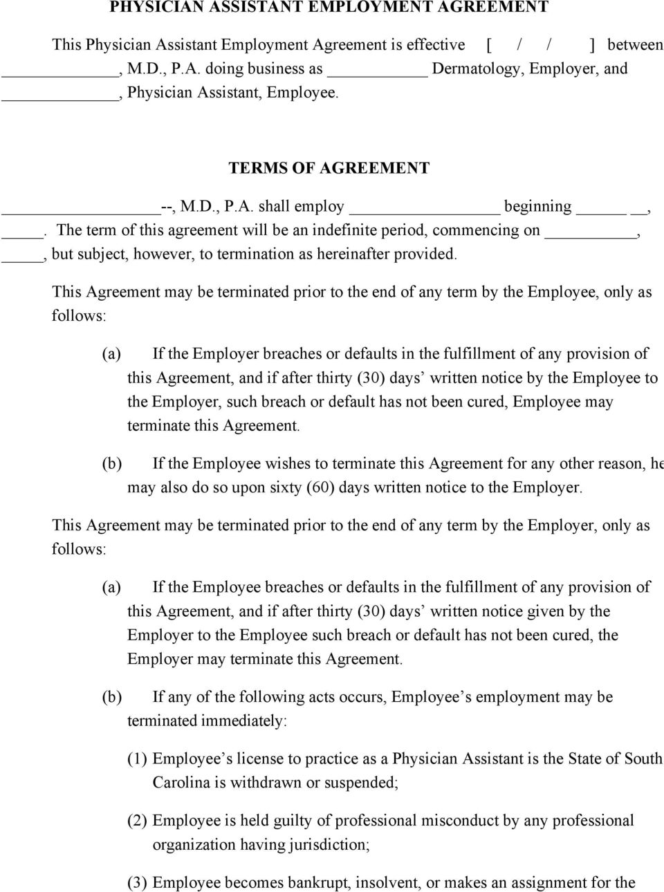 Physician Employment Agreement Career Development Employment