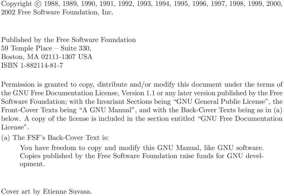 of the GNU Free Documentation License, Version 1.