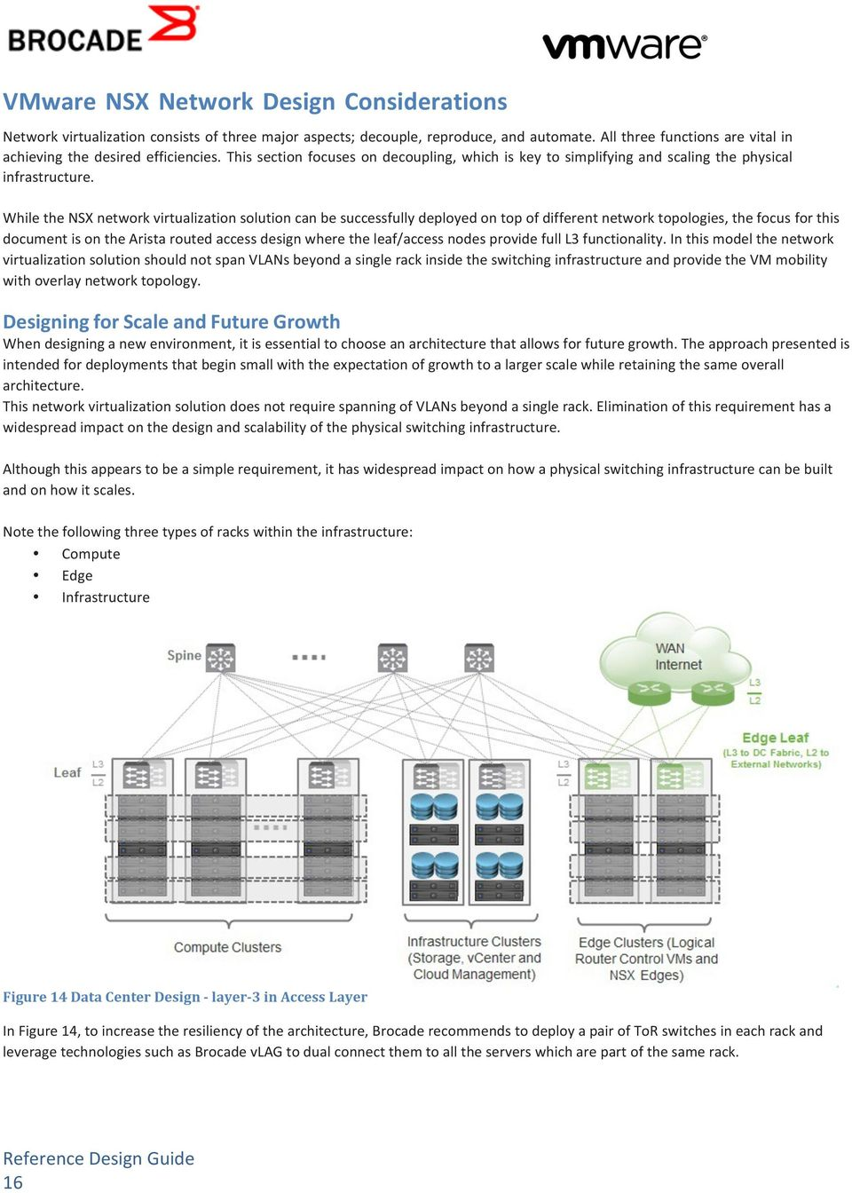 While the NSX network virtualization solution can be successfully deployed on top of different network topologies, the focus for this document is on the Arista routed access design where the