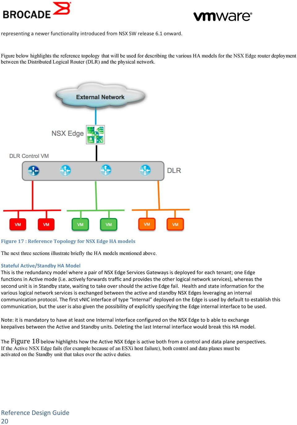 network. Figure 17 : Reference Topology for NSX Edge HA models The next three sections illustrate briefly the HA models mentioned above.