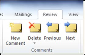 Figure 24. Review tab, Comments group, Delete tool Before you prepare the final version of the document or convert the document to a PDF file, check for any unwanted formatting marks in the document.