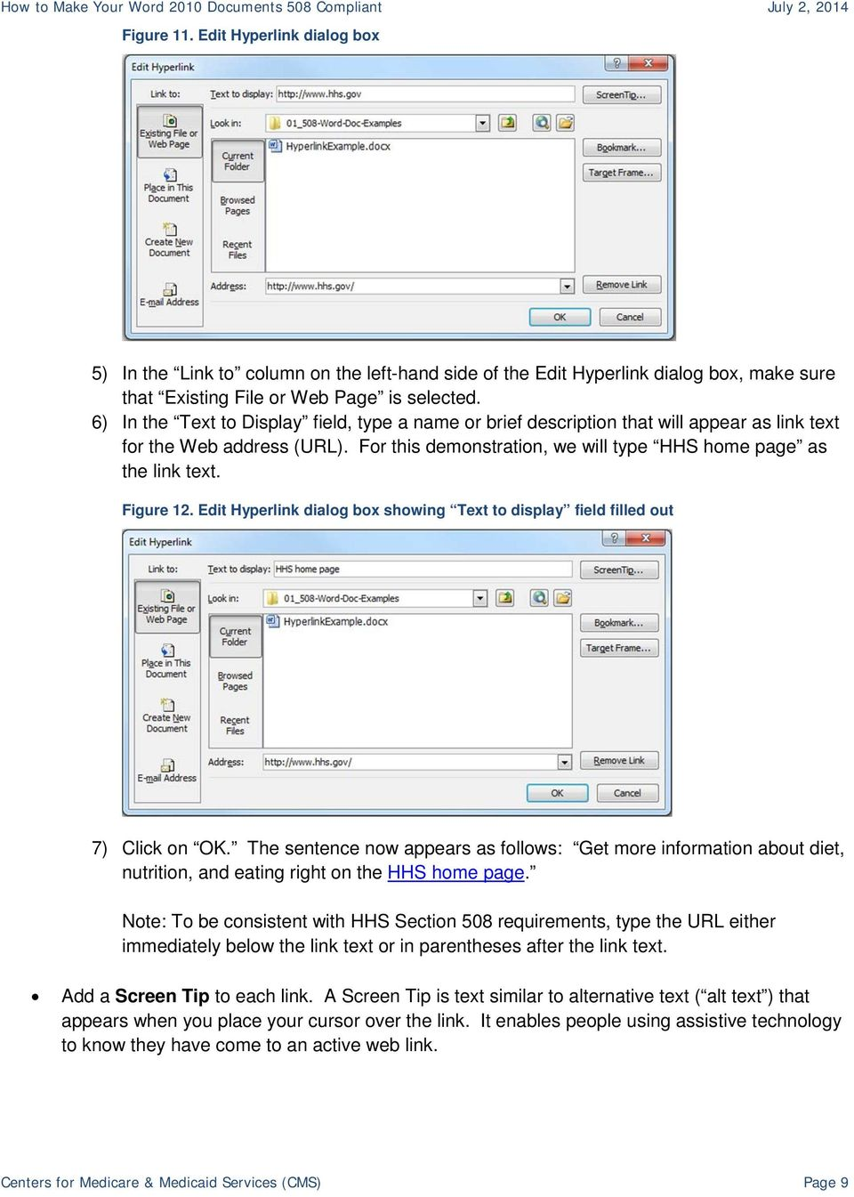 Figure 12. Edit Hyperlink dialog box showing Text to display field filled out 7) Click on OK.