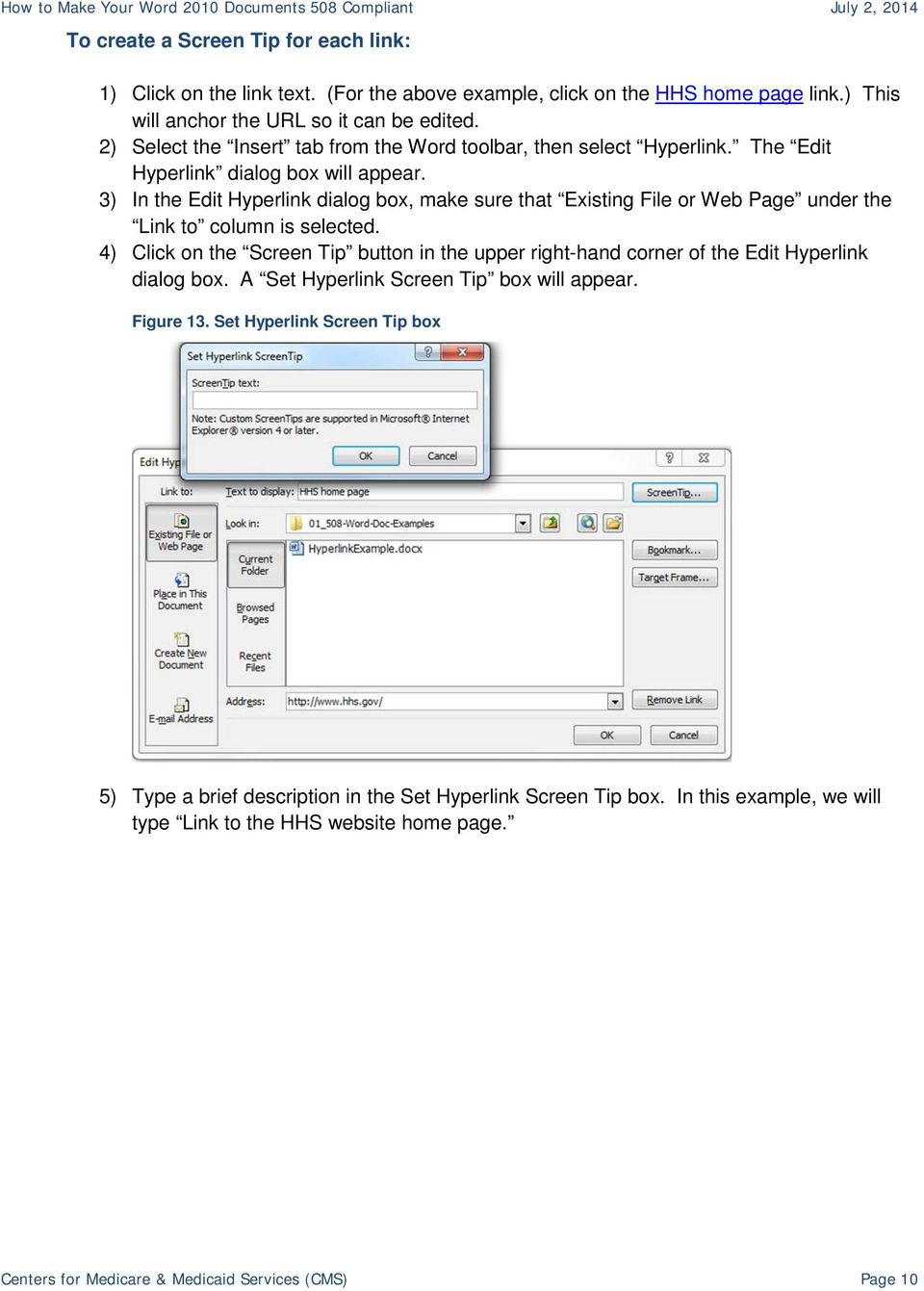 3) In the Edit Hyperlink dialog box, make sure that Existing File or Web Page under the Link to column is selected.