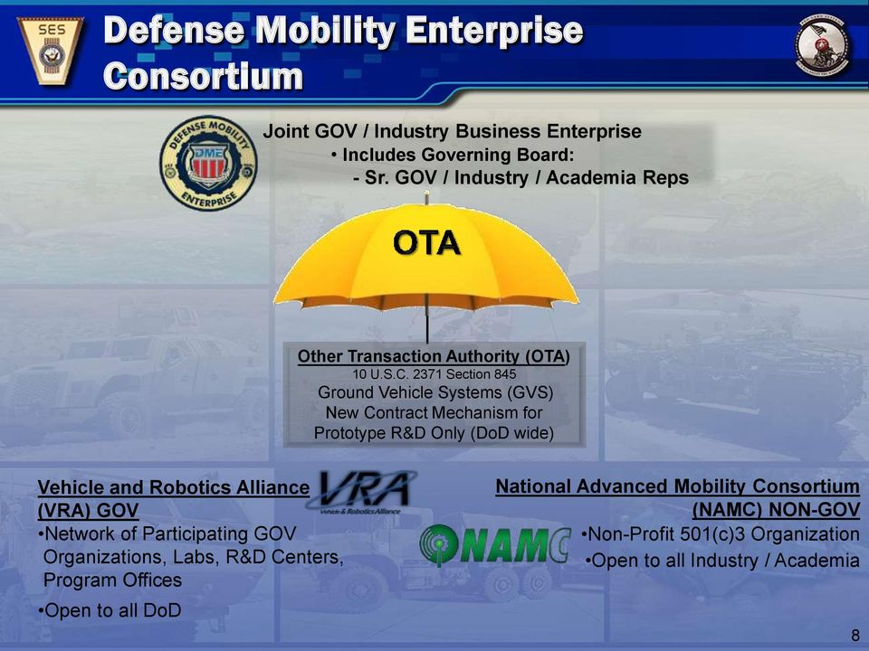 2371 Section 845 Ground Vehicle Systems (GVS) New Contract Mechanism for Prototype R&D Only (DoD wide) Vehicle and Robotics Alliance