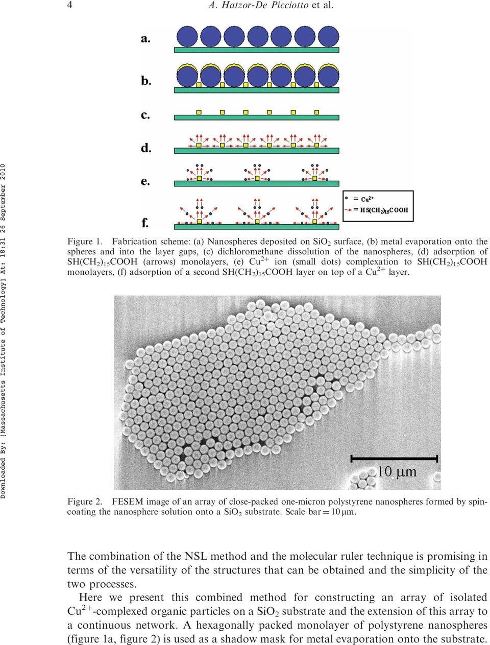 SH(CH 2 ) 15 COOH (arrows) monolayers, (e) Cu 2þ ion (small dots) complexation to SH(CH 2 ) 15 COOH monolayers, (f) adsorption of a second SH(CH 2 ) 15 COOH layer on top of a Cu 2þ layer. Figure 2.