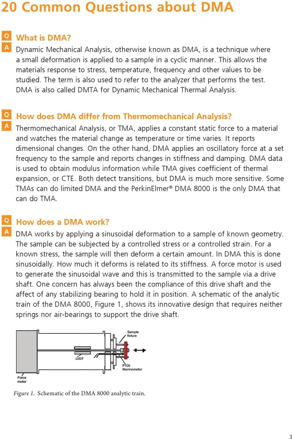 DMA is also called DMTA for Dynamic Mechanical Thermal Analysis. Q How does DMA differ from Thermomechanical Analysis?