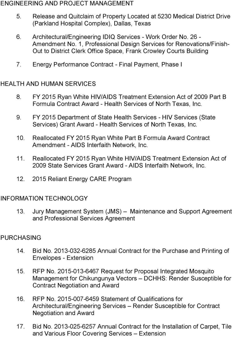 Energy Performance Contract - Final Payment, Phase I HEALTH AND HUMAN SERVICES 8.
