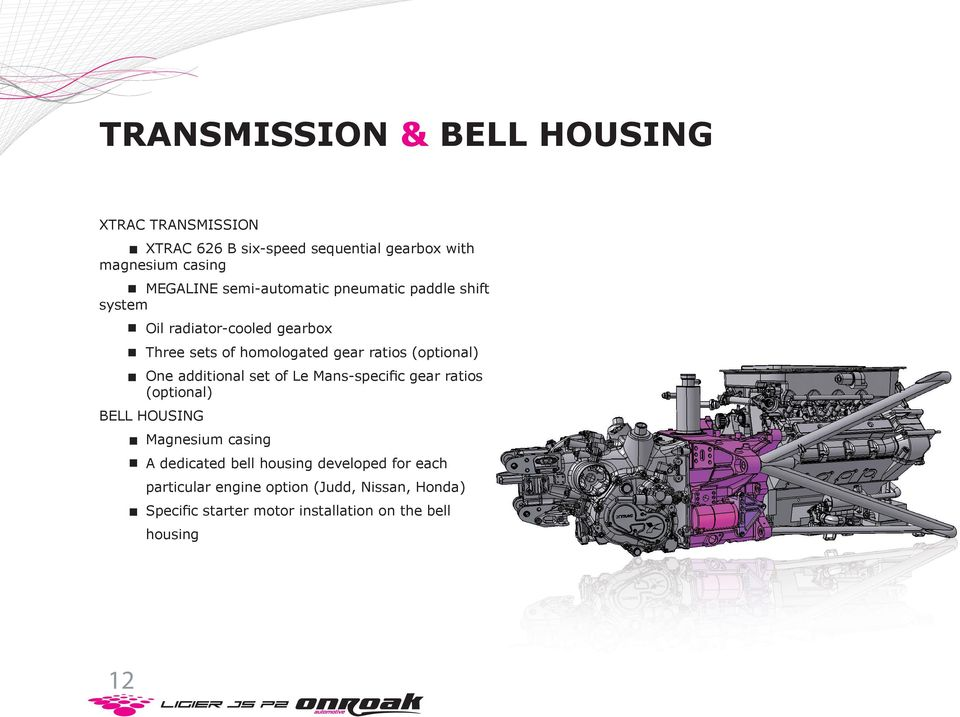 (optional) One additional set of Le Mans-specific gear ratios (optional) BELL HOUSING Magnesium casing A dedicated bell