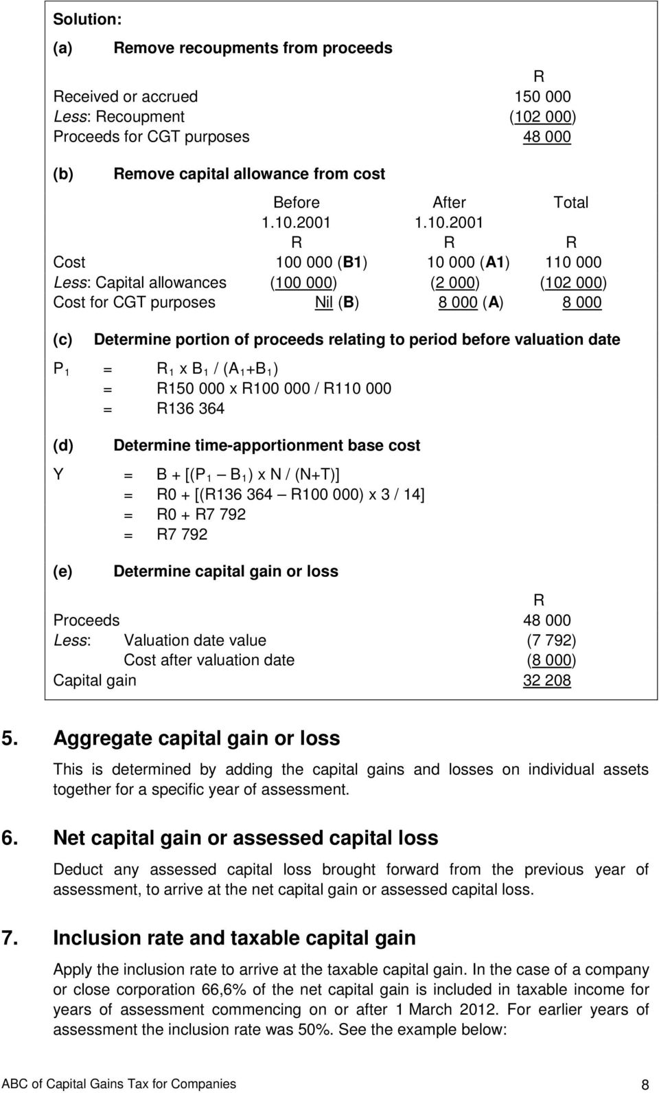period before valuation date P 1 = R 1 x B 1 / (A 1 +B 1 ) = R150 000 x R100 000 / R110 000 = R136 364 (d) Determine time-apportionment base cost Y = B + [(P 1 B 1 ) x N / (N+T)] = R0 + [(R136 364