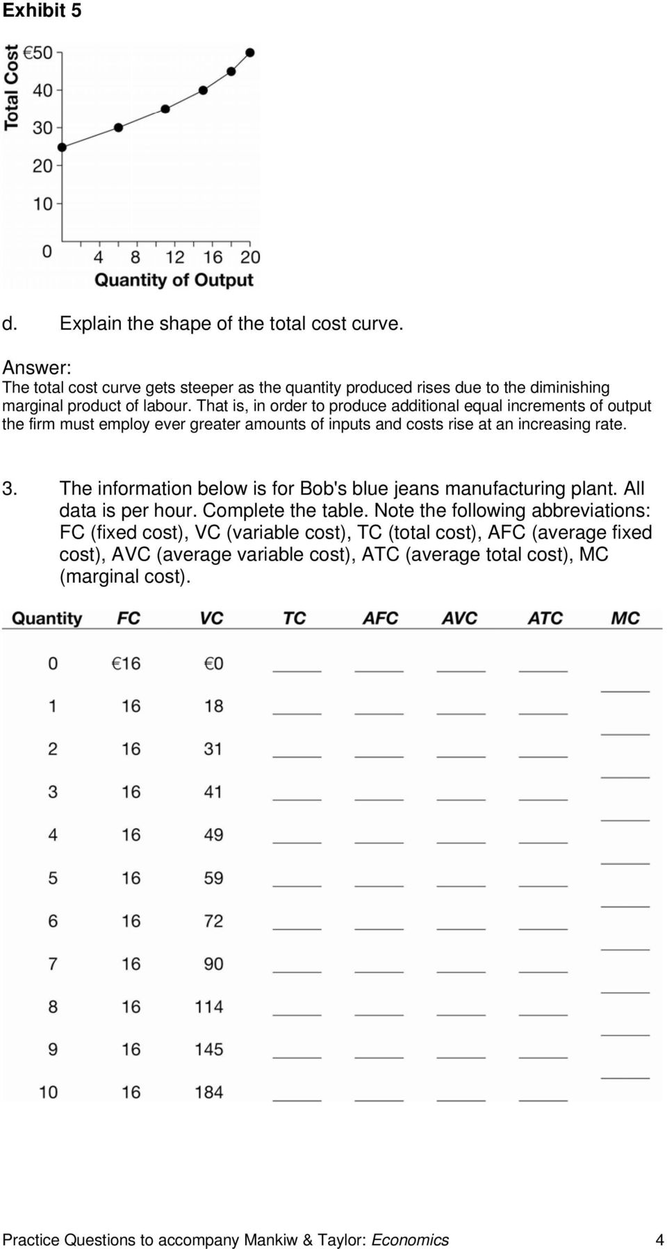 The information below is for Bob's blue jeans manufacturing plant. All data is per hour. Complete the table.