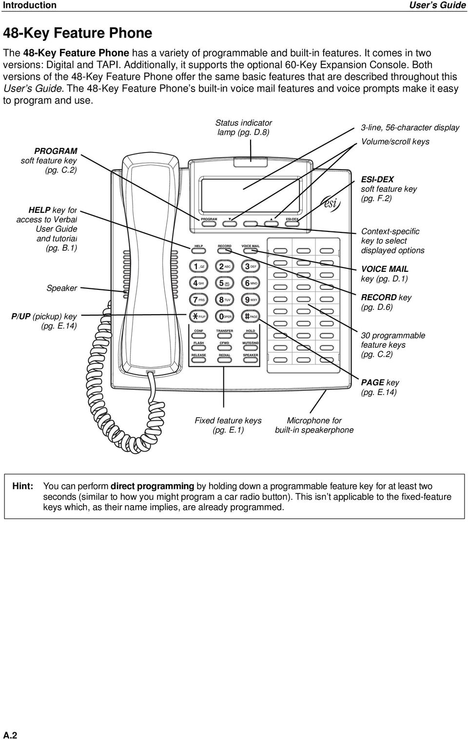 The 48-Key Feature Phone s built-in voice mail features and voice prompts make it easy to program and use. PROGRAM soft feature key (pg. C.2) HELP key for access to Verbal User Guide and tutorial (pg.