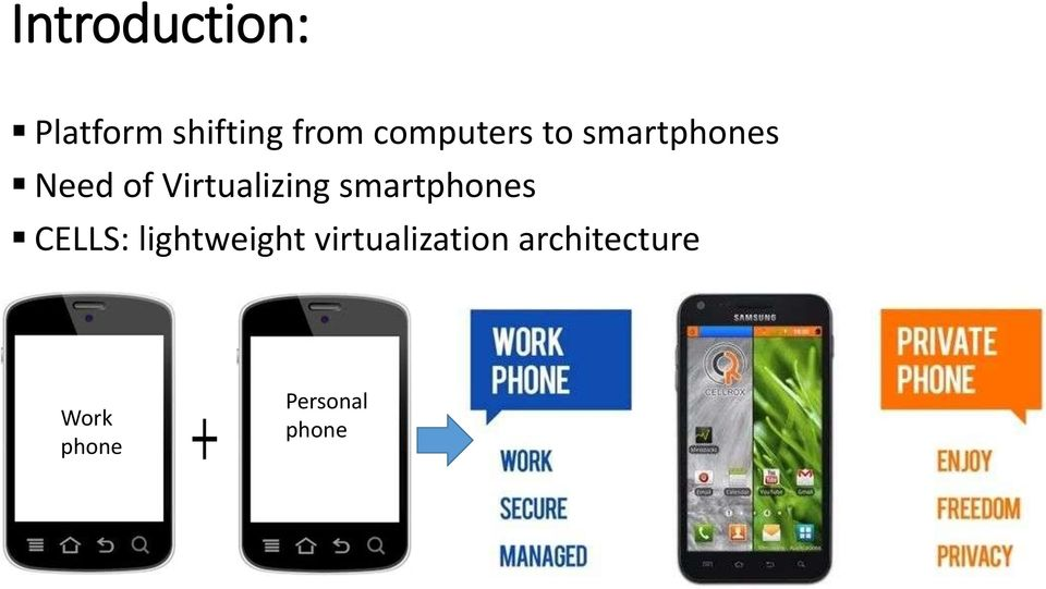 Virtualizing smartphones CELLS: