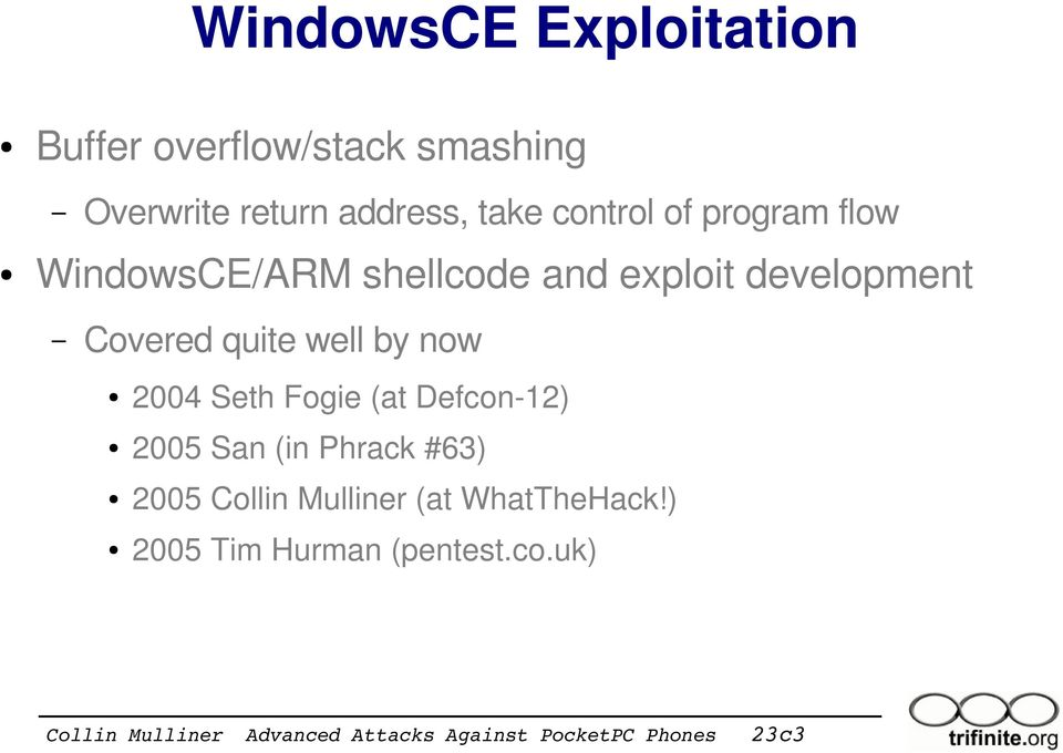 development Covered quite well by now 2004 Seth Fogie (at Defcon 12) 2005 San