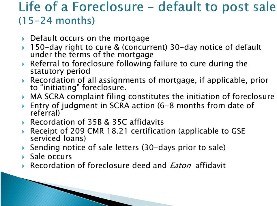 MA SCRA complaint filing constitutes the initiation of foreclosure Entry of judgment in SCRA action (6-8 months from date of referral) Recordation of 35B & 35C