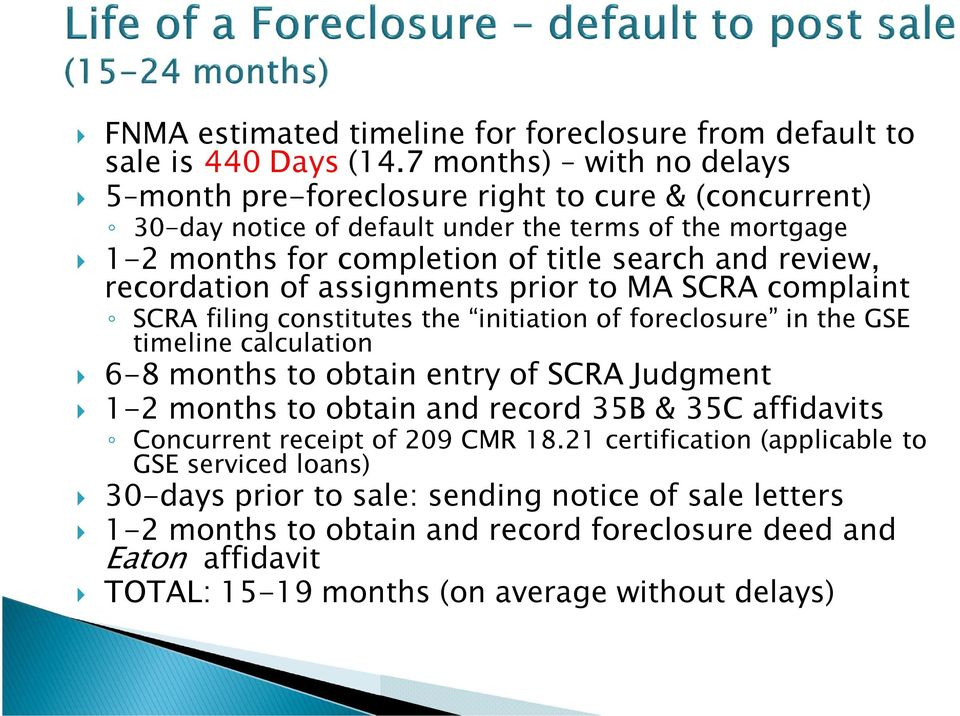 recordation of assignments prior to MA SCRA complaint SCRA filing constitutes the initiation of foreclosure in the GSE timeline calculation 6-8 months to obtain entry of SCRA Judgment 1-2