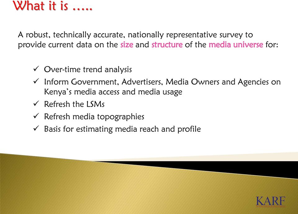 on the size and structure of the media universe for: Over-time trend analysis Inform