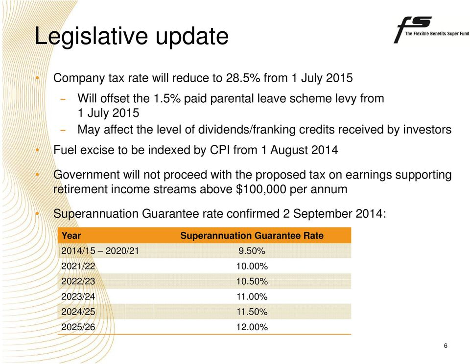indexed by CPI from 1 August 2014 Government will not proceed with the proposed tax on earnings supporting retirement income streams above
