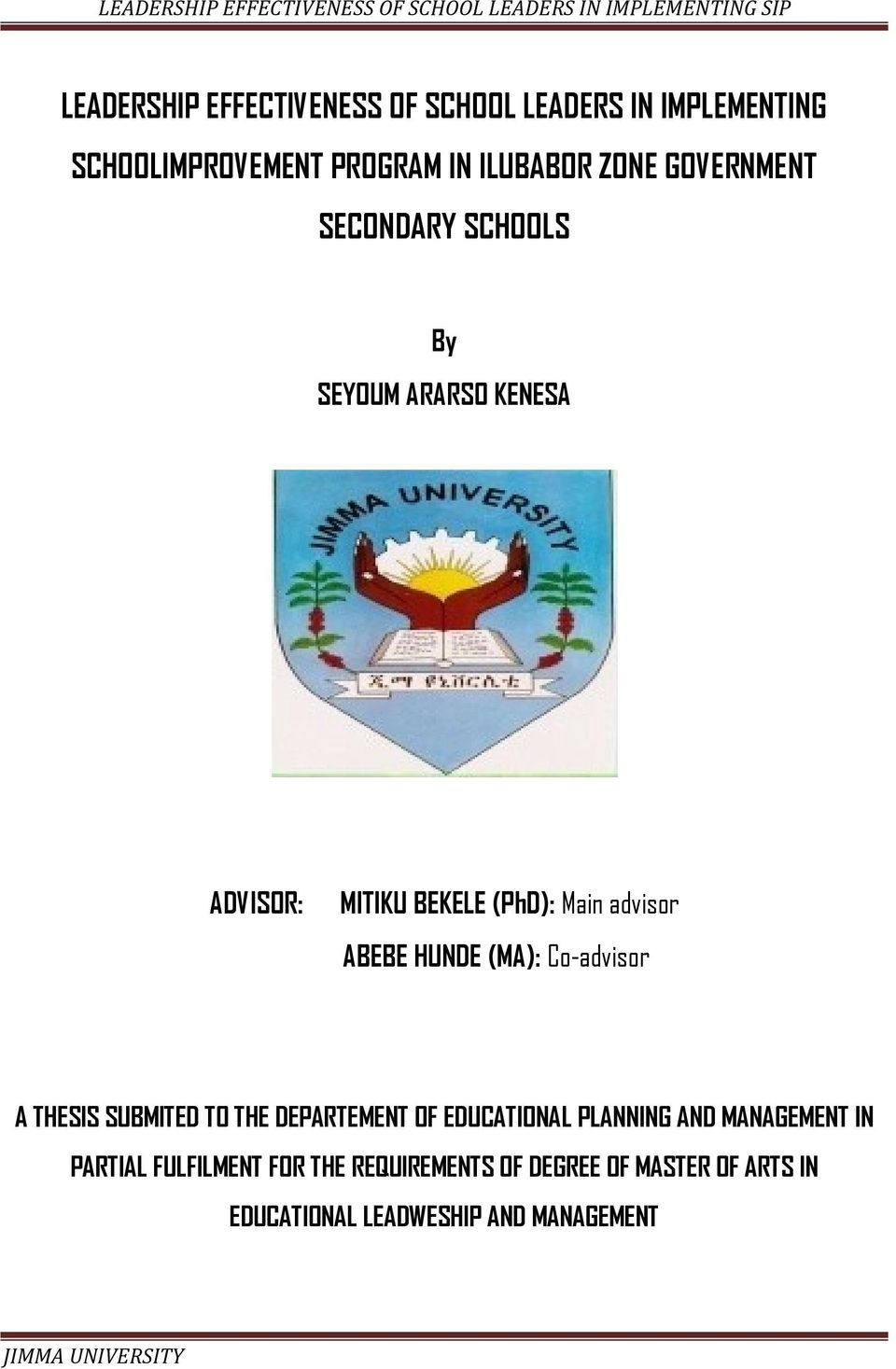 Thesis on educational planning and management