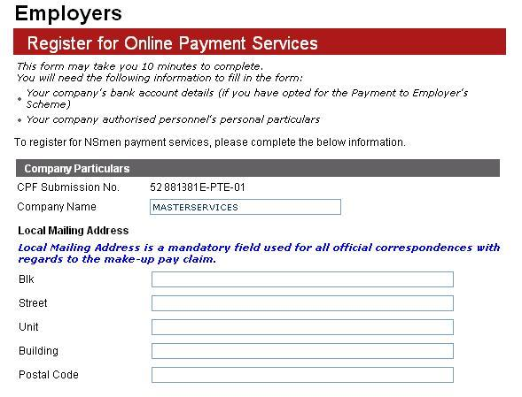 A) Register for Employers eservices Step 4 Enter Company