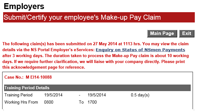 B) Submit Claims Online Confirmation on Claim