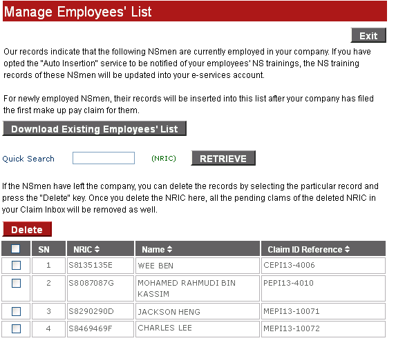 D) Manage Employees List Delete the NRIC if NSman has left