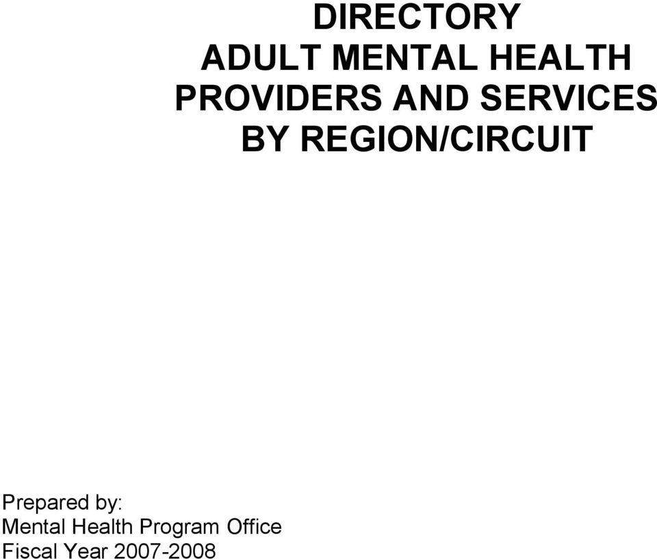 2007-2008 DIRECTORY ADULT MENTAL