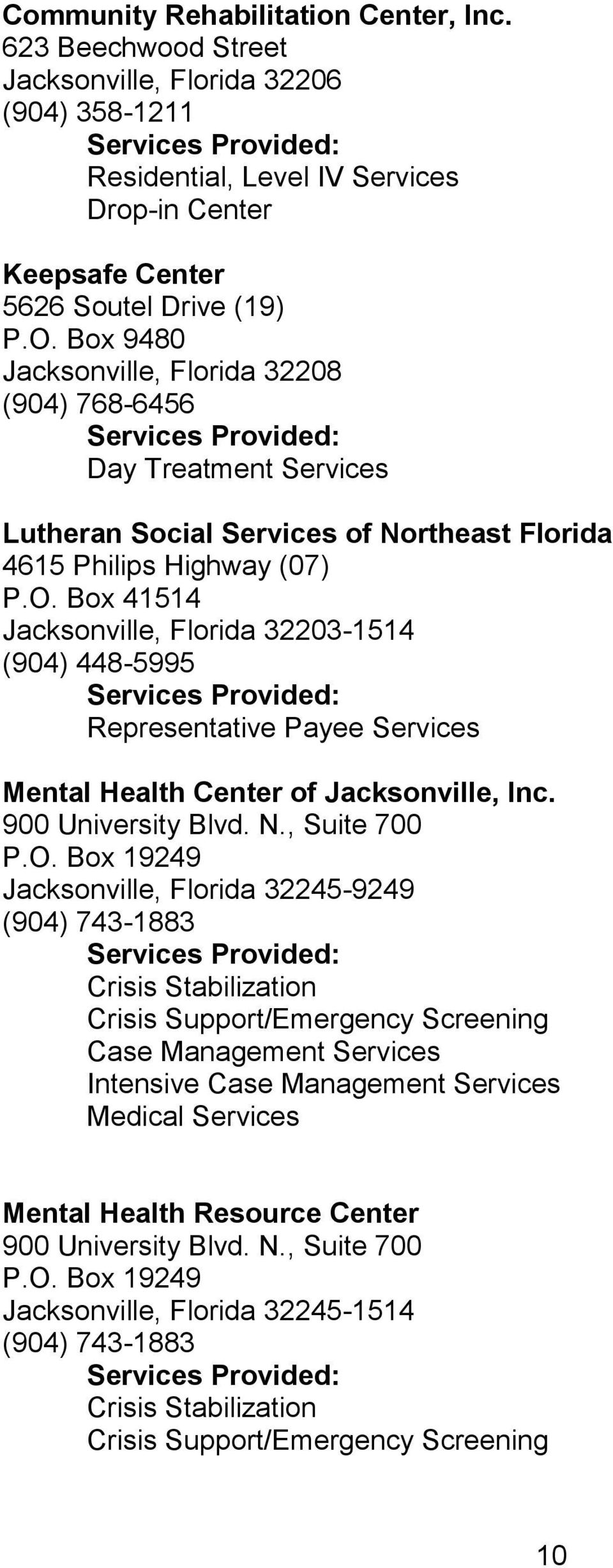 Box 9480 Jacksonville, Florida 32208 (904) 768-6456 Day Treatment Services Lutheran Social Services of Northeast Florida 4615 Philips Highway (07) P.O.