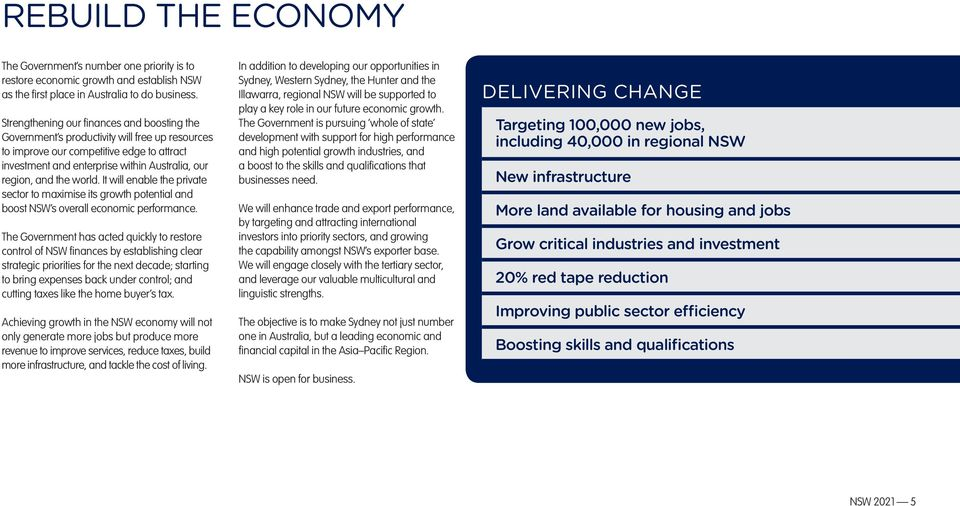world. It will enable the private sector to maximise its growth potential and boost NSW s overall economic performance.