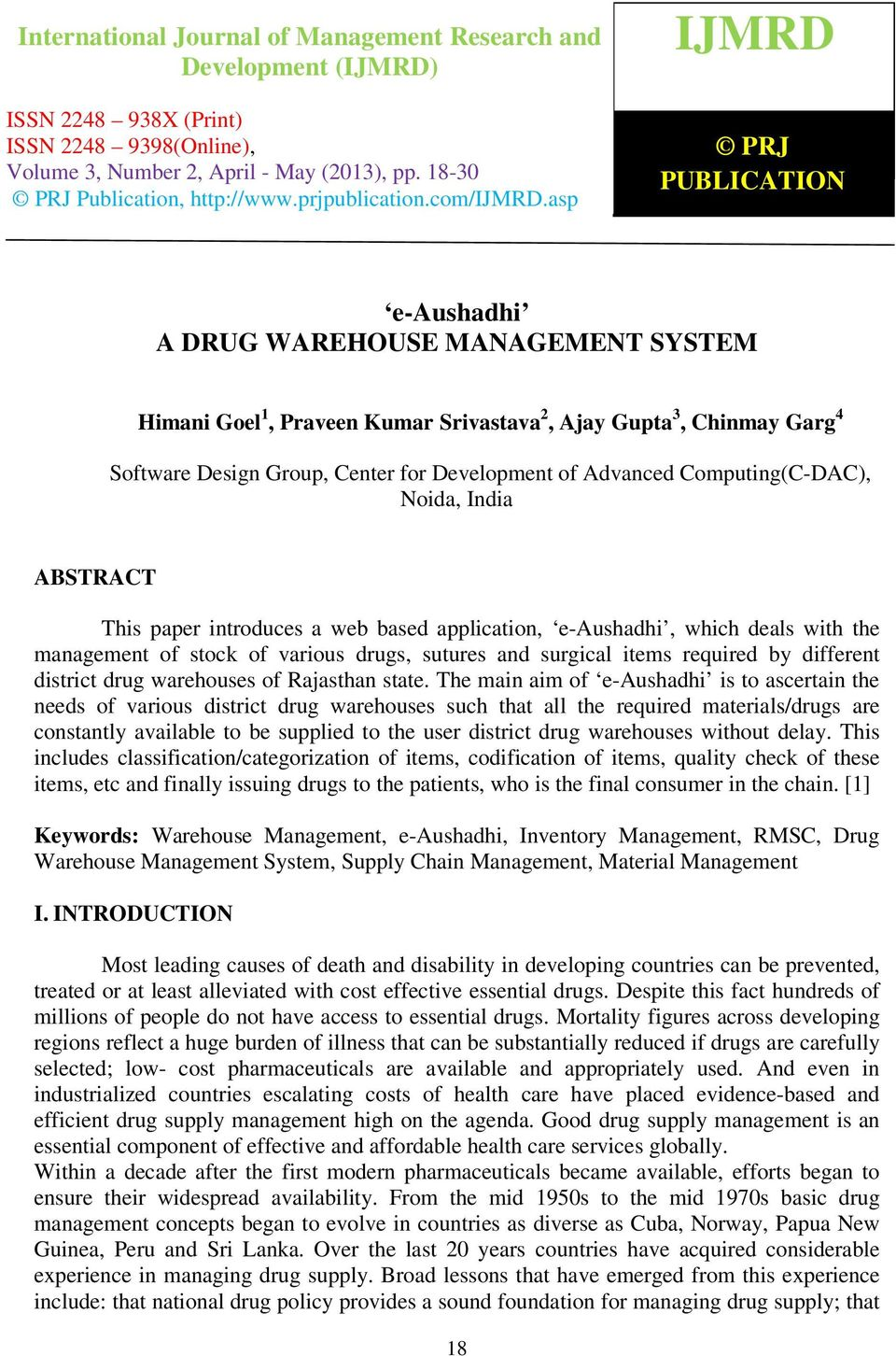 Computing(C-DAC), Noida, India ABSTRACT This paper introduces a web ...