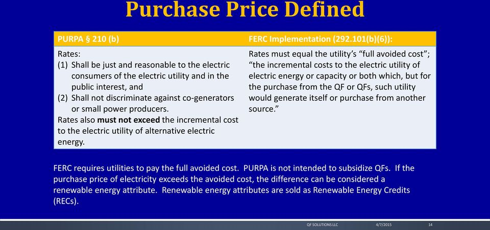 101(b)(6)): Rates must equal the utility s full avoided cost ; the incremental costs to the electric utility of electric energy or capacity or both which, but for the purchase from the QF or QFs,