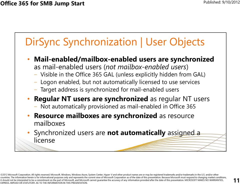 address is synchronized for mail-enabled users Regular NT users are synchronized as regular NT users Not automatically provisioned as