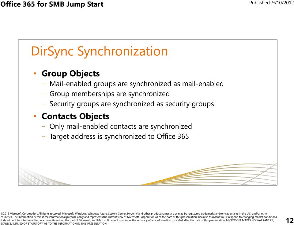 Security groups are synchronized as security groups Contacts Objects