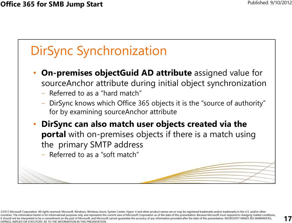 source of authority for by examining sourceanchor attribute DirSync can also match user objects created via