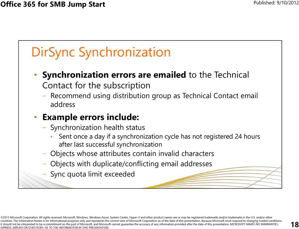 Sent once a day if a synchronization cycle has not registered 24 hours after last successful synchronization Objects