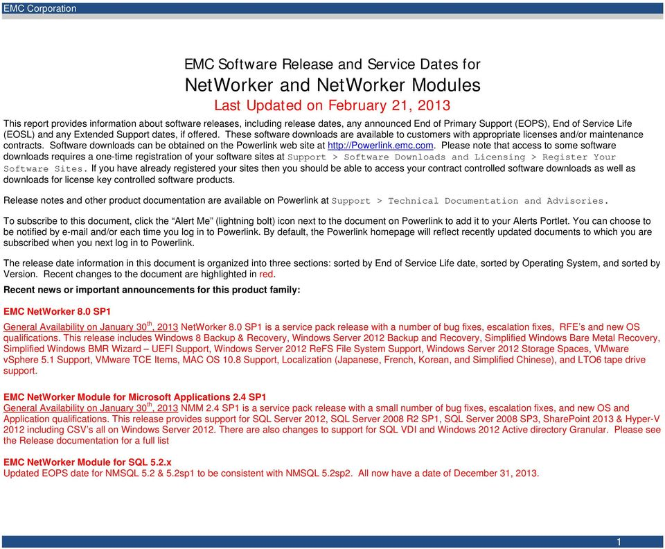 These software downloads are available to customers with appropriate licenses and/or maintenance contracts. Software downloads can be obtained on the Powerlink web site at http://powerlink.emc.com.