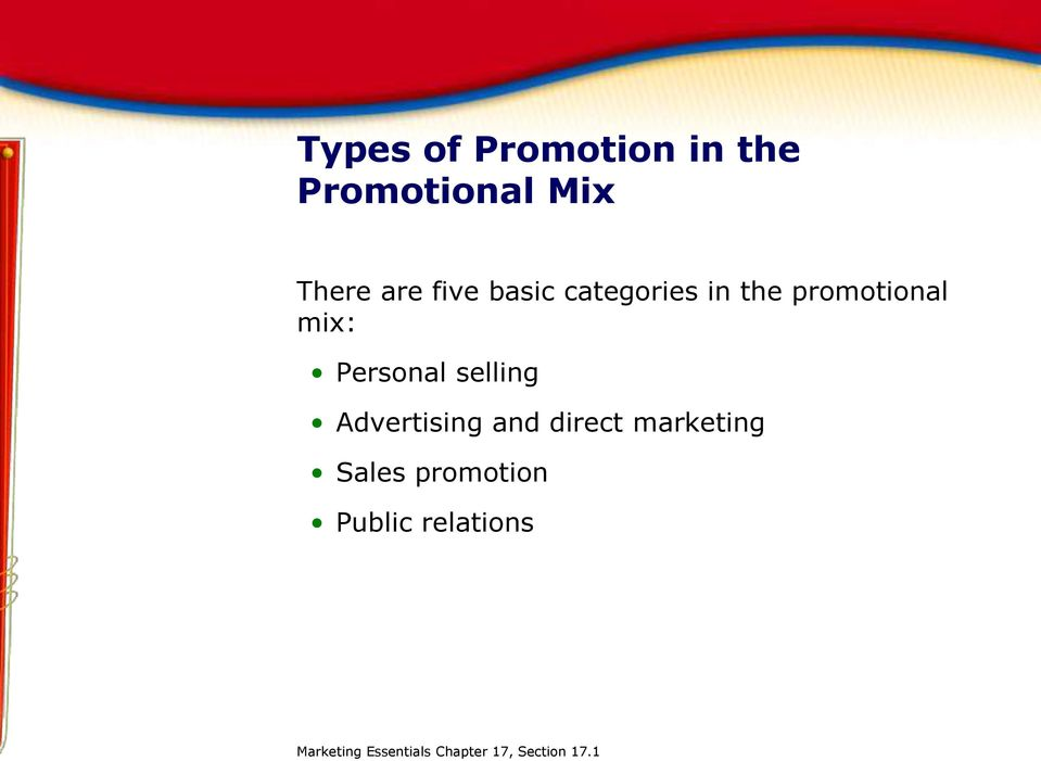 selling Advertising and direct marketing Sales promotion