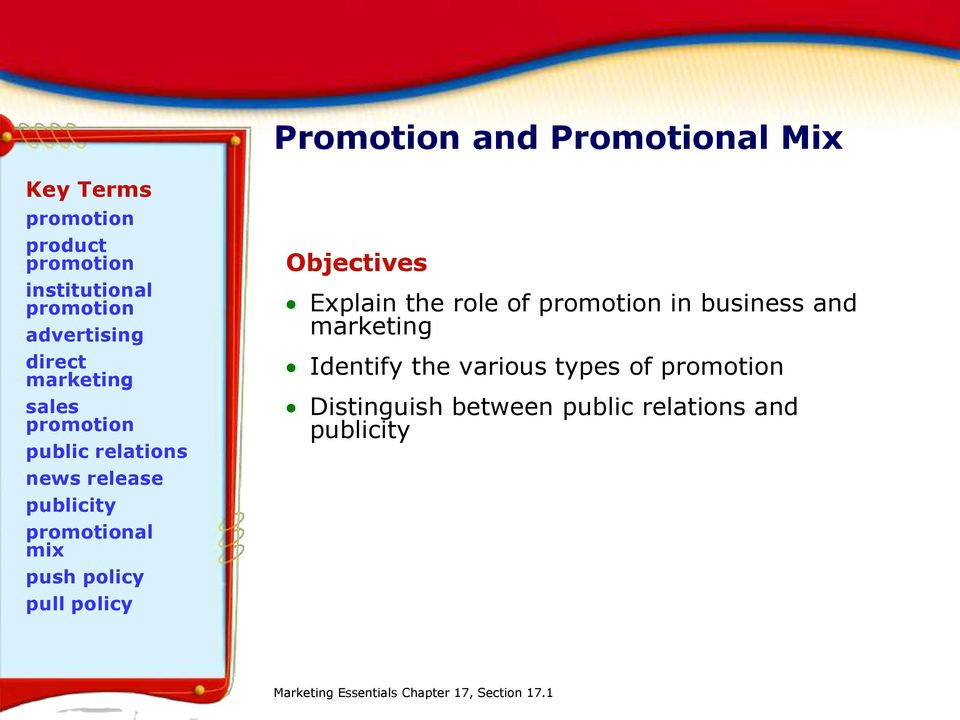 pull policy Objectives Explain the role of promotion in business and marketing Identify the various