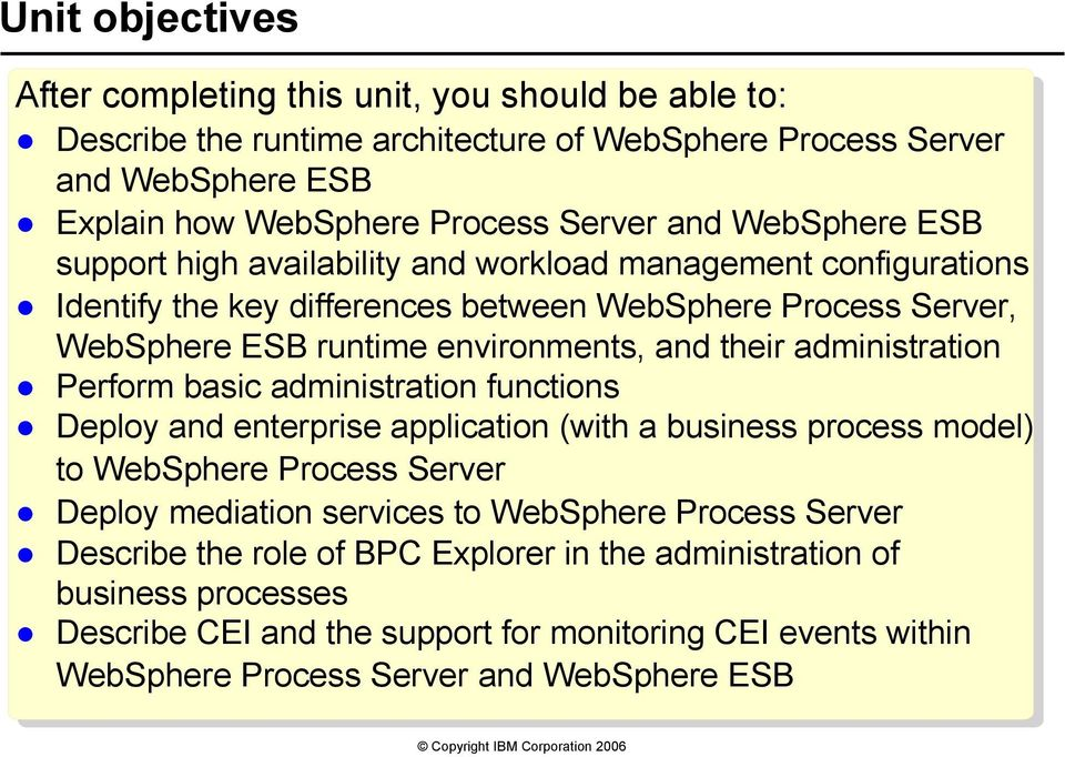 administration Perform basic administration functions Deploy and enterprise application (with a business process model) to WebSphere Process Server Deploy mediation services to WebSphere