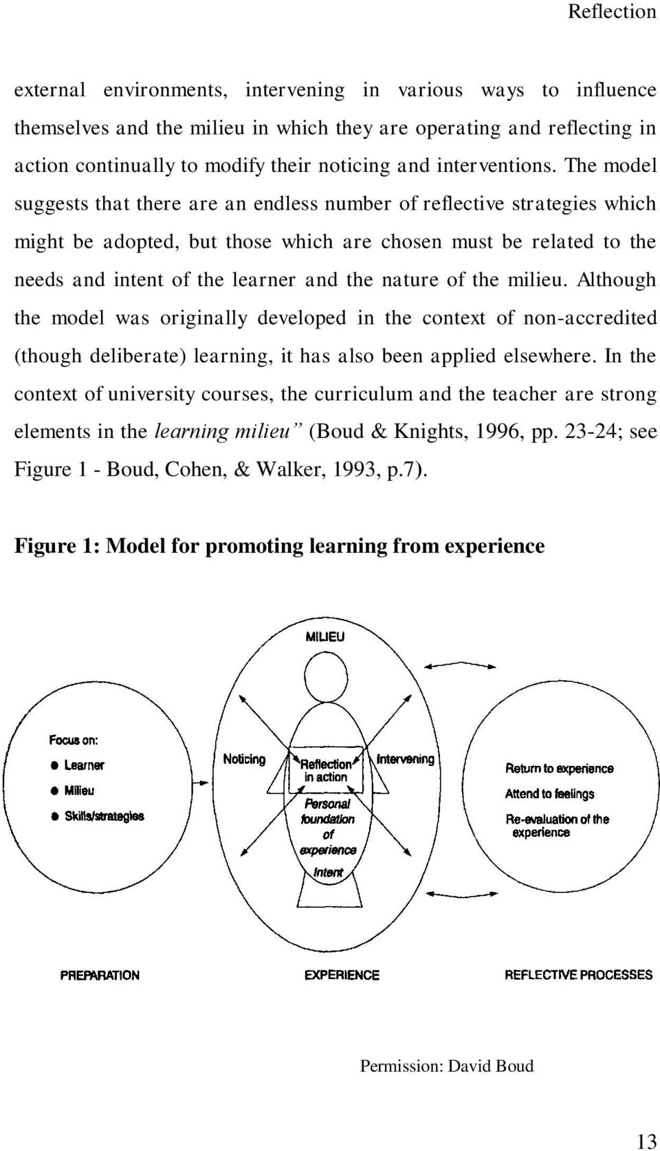 The model suggests that there are an endless number of reflective strategies which might be adopted, but those which are chosen must be related to the needs and intent of the learner and the nature