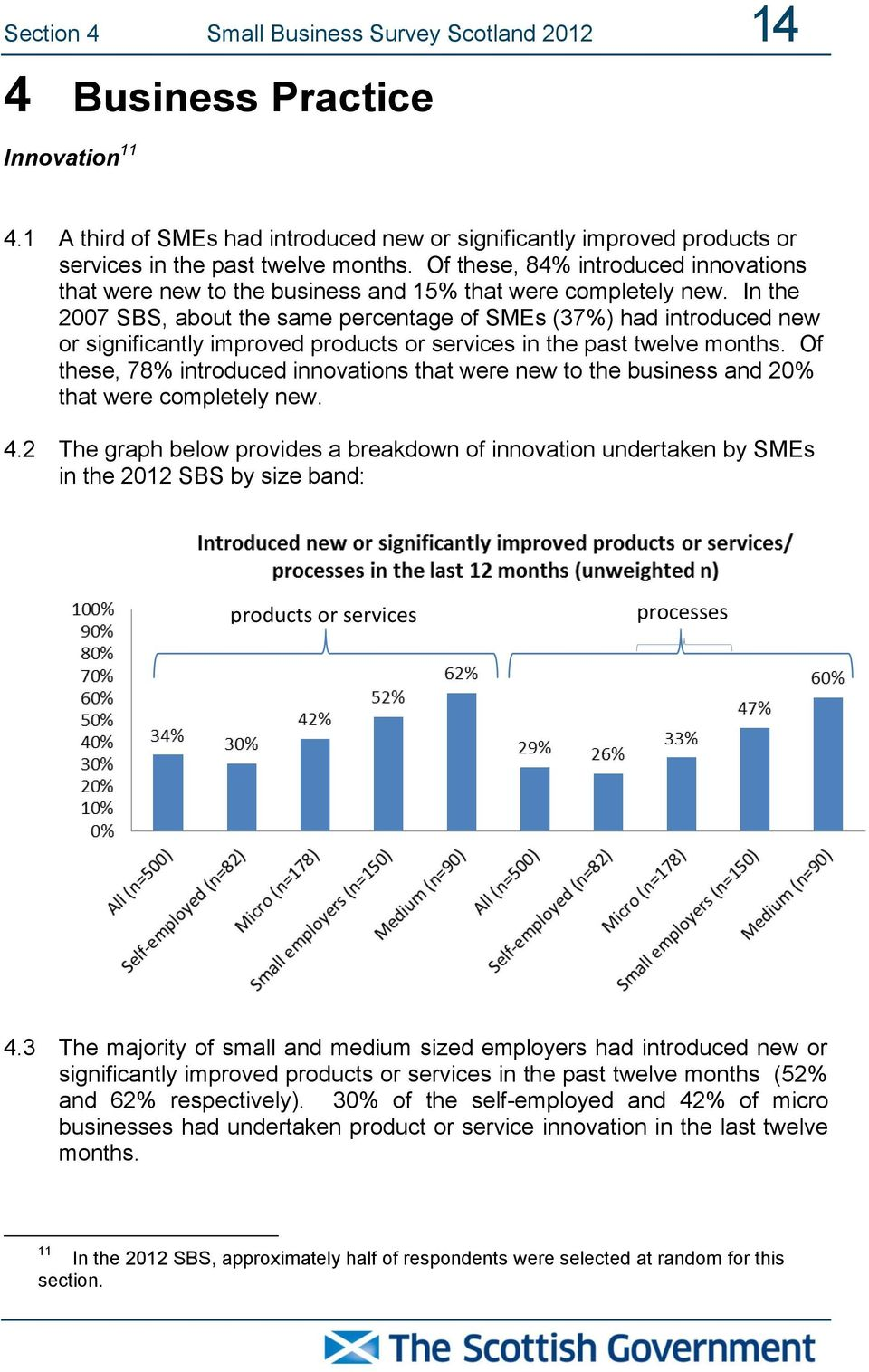 In the 2007 SBS, about the same percentage of SMEs (37%) had introduced new or significantly improved products or services in the past twelve months.