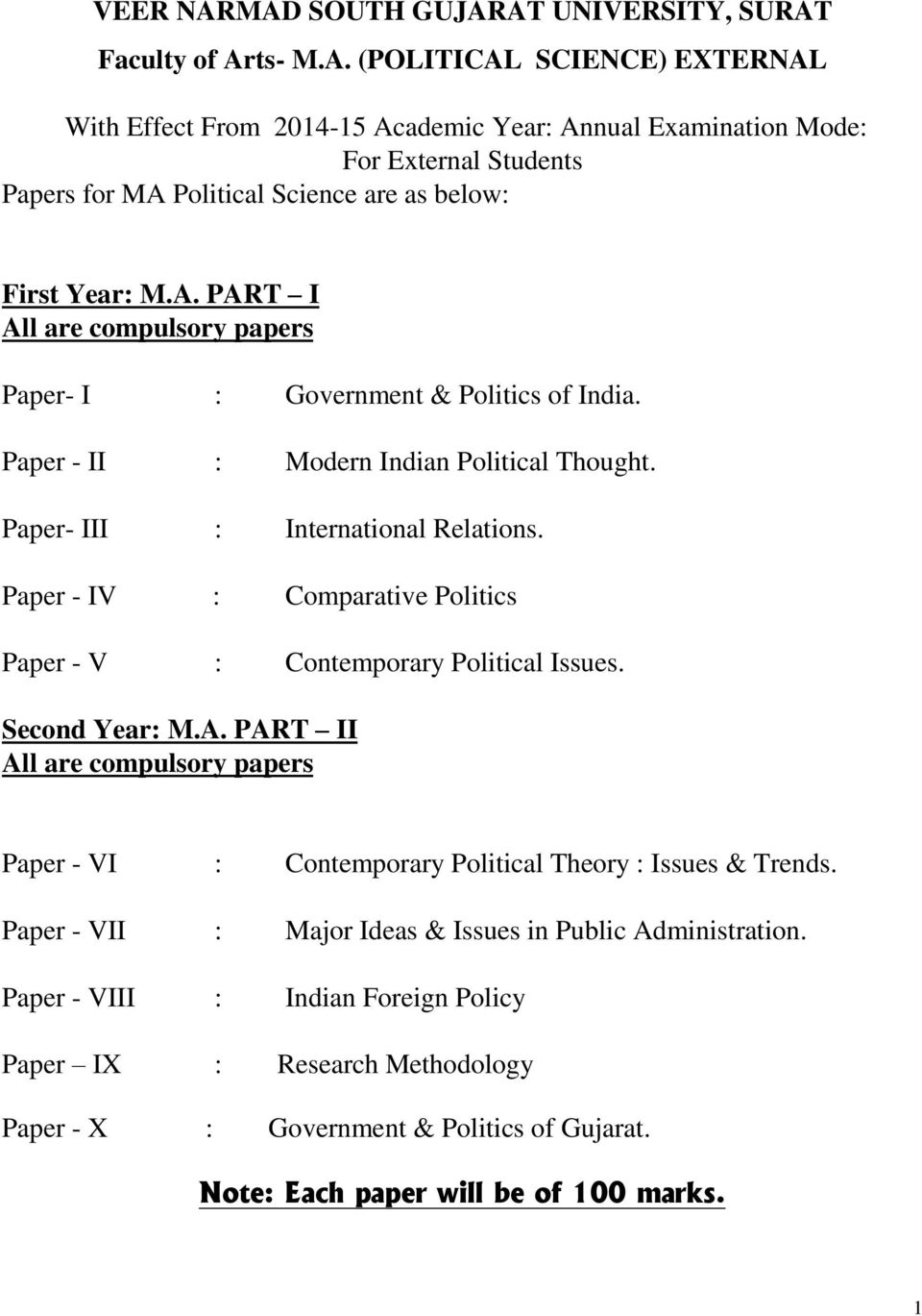 Paper - IV : Comparative Politics Paper - V : Contemporary Political Issues. Second Year: M.A. PART II All are compulsory papers Paper - VI : Contemporary Political Theory : Issues & Trends.