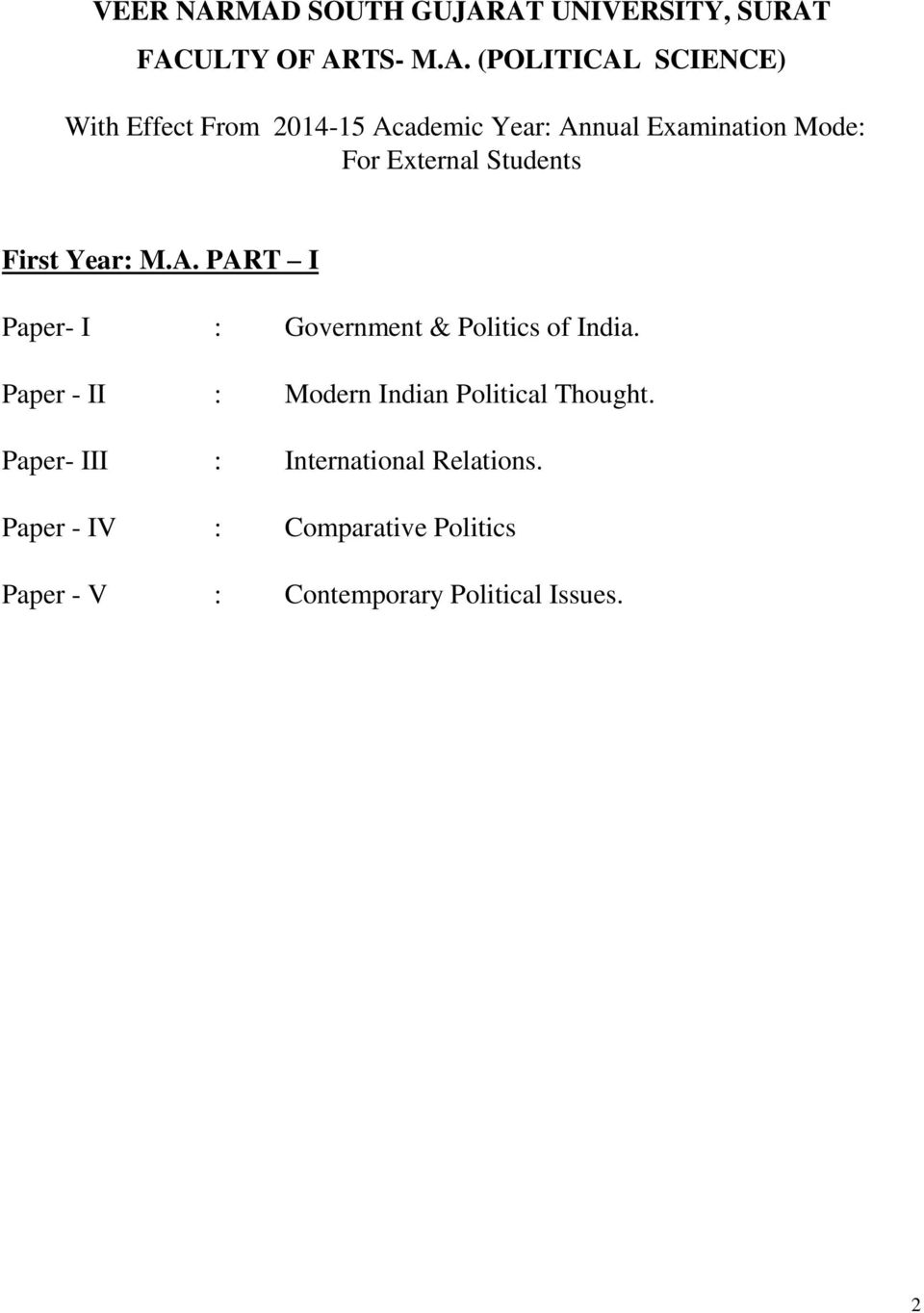 2014-15 Academic Year: Annual Examination Mode: For External Students First Year: M.A. PART I Paper- I : Government & Politics of India.