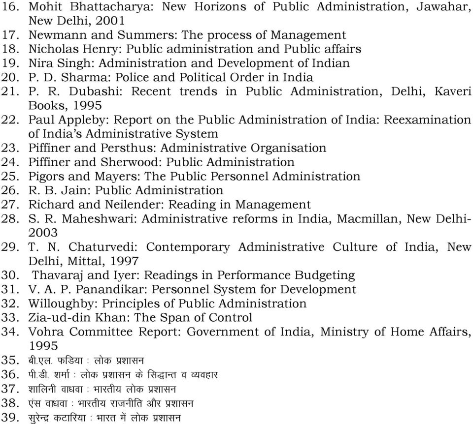 Dubashi: Recent trends in Public Administration, Delhi, Kaveri Books, 1995 22. Paul Appleby: Report on the Public Administration of India: Reexamination of India s Administrative System 23.