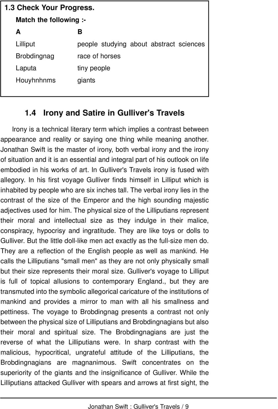 gullivers travels summary every chapter