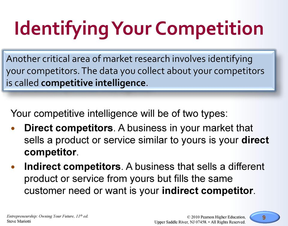 Your competitive intelligence will be of two types: Direct competitors.