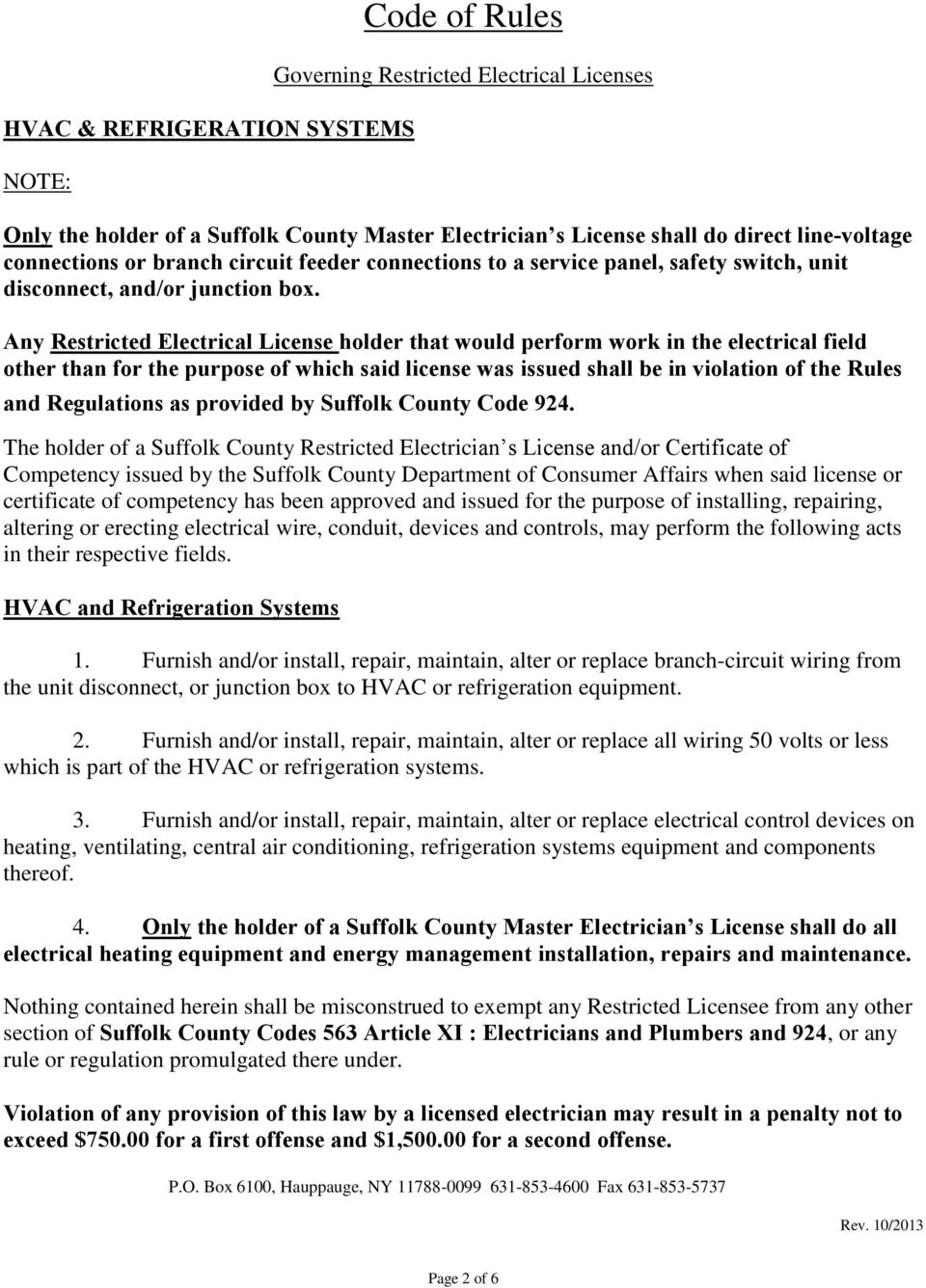 Suffolk County Code Of Rules Governing Restricted Licensed Junction Box Wiring Regulations Furnish And Or Install Repair Maintain Alter Replace All 50