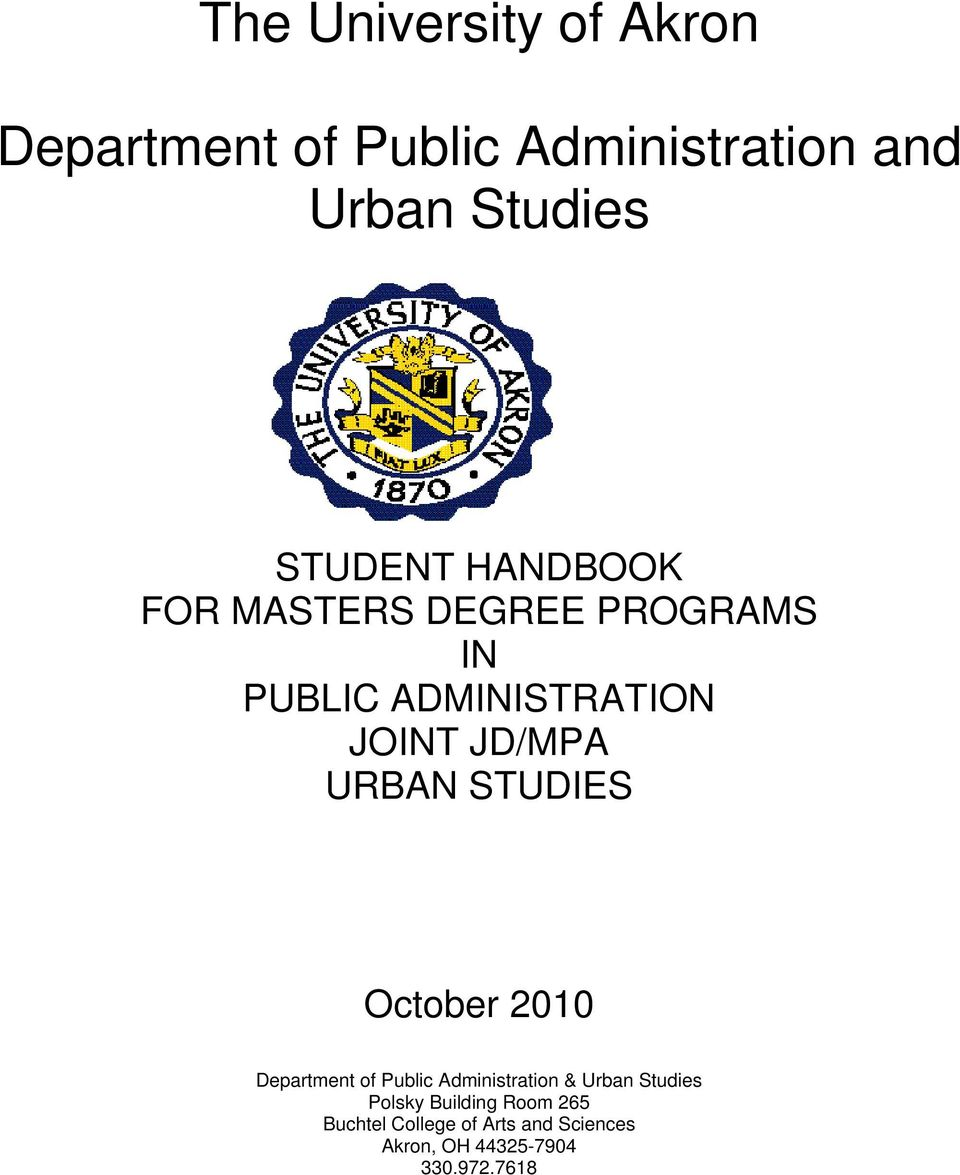 URBAN STUDIES October 2010 Department of Public Administration & Urban Studies